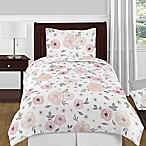 Sweet Jojo Designs Watercolor Floral 4-Piece Twin Comforter Set in Pink/Grey