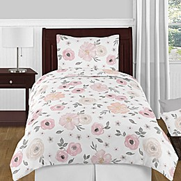 Sweet Jojo Designs® Watercolor Floral Bedding Collection in Pink/Grey