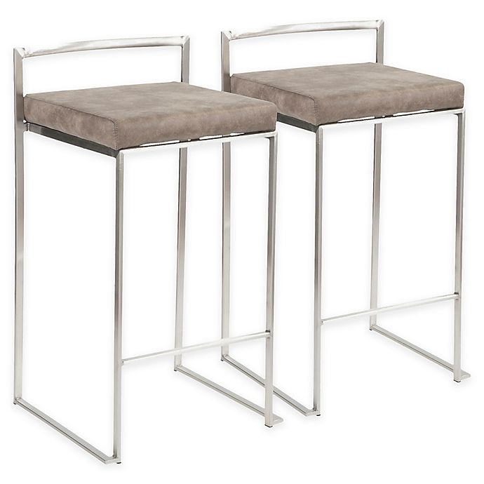 Lumisource Upholstered Barstools Set Of 2 Bed Bath