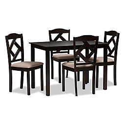 Baxton Studio Ruth 5-Piece Dining Set in Dark Brown/Sand