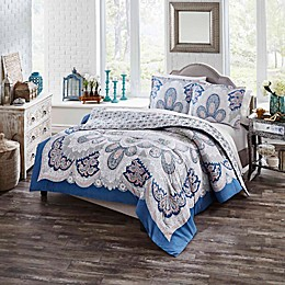 Boho Boutique Serene 2-Piece Reversible Twin XL Comforter Set in Blue