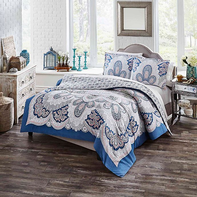 Alternate image 1 for Boho Boutique Serene 2-Piece Reversible Twin XL Comforter Set in Blue