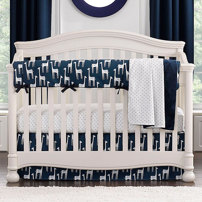 Alternate image 1 for Liz and Roo Giraffe Crib Bedding Collection in Navy