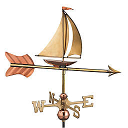 Good Directions Sailboat Garden Weathervane with Pole in Polished Copper