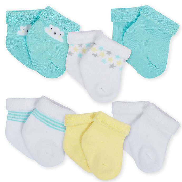 Alternate image 1 for Gerber® 6-Pack Clouds Terry Bootie Socks in Aqua/Yellow