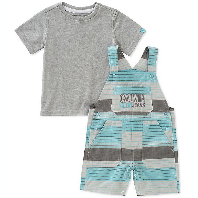 Calvin Klein 2-Piece Shirt and Striped Shortall Set in Teal Grey ... 16feba40e