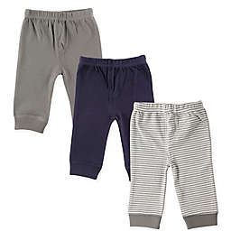 Luvable Friends® Size 0-3M 3-Pack Pants in Grey Stripe
