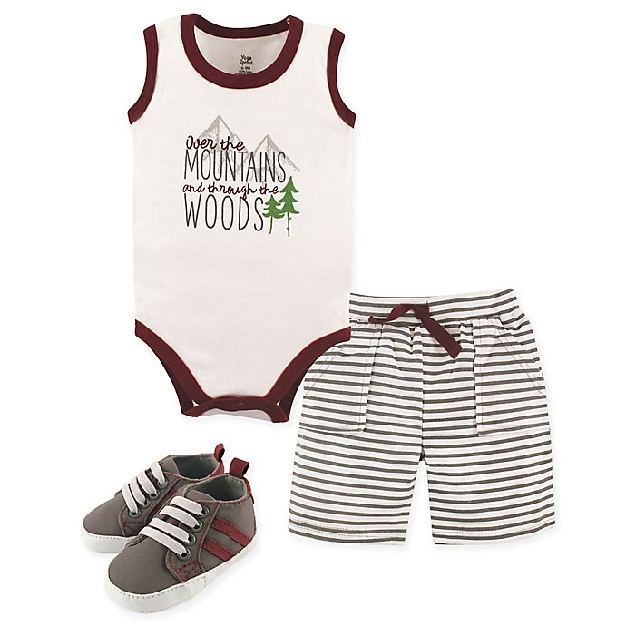 Alternate image 1 for Yoga Sprout Mountains 4-Piece Outfit in Red