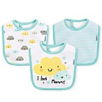 Gerber® 3-Pack Clouds Dribbler Bibs in Aqua/Yellow