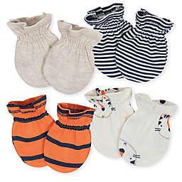 Gerber® 4-Pack Tiger Mittens in Beige/Orange