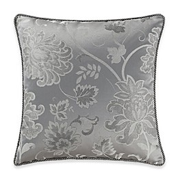Marquis® By Waterford Samantha Floral Jacquard Square Throw Pillow in Platinum