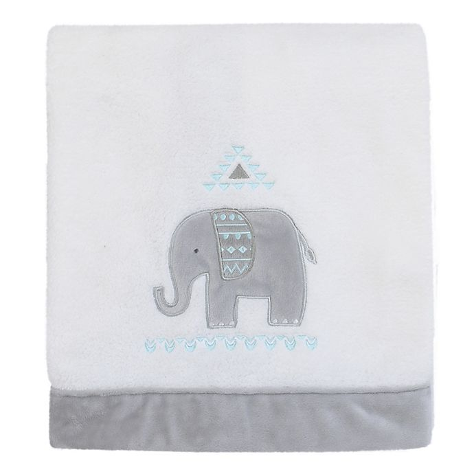 Alternate image 1 for NoJo Aztec Mix And Match Elephant Plush Baby Blanket in White/Grey