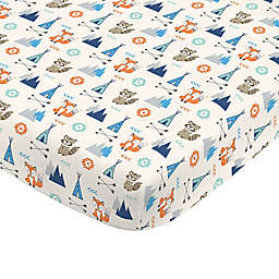 NoJo® Aztec Mix And Match Fox Print Fitted Crib Sheet in Navy
