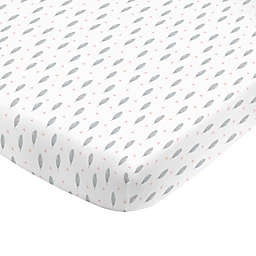 NoJo® Aztec Mix & Match Feather Print Fitted Crib Sheet in Grey/White