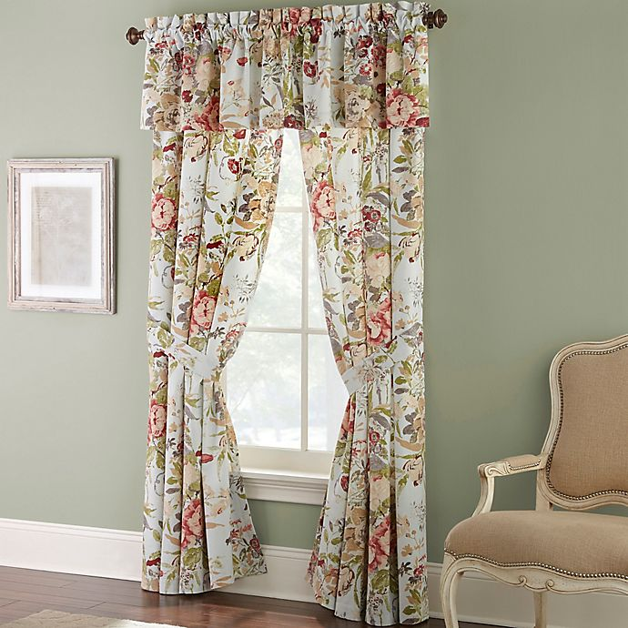 Alternate image 1 for Rose Tree Lorraine 84-Inch Rod Pocket Window Curtain Panel Pair in Pale Blue/Red