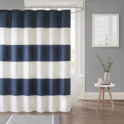 Parker Stripe Shower Curtain In Navy