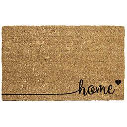 """Entryways Home Love 18"""" x 30"""" Coir Door Mat in Black"""