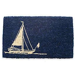 """Entryways Sailboat 18"""" x 30"""" Coir Door Mat in Blue"""
