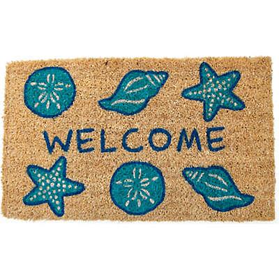 """Entryways Shells Welcome 18"""" x 30"""" Coir Door Mat in Blue"""