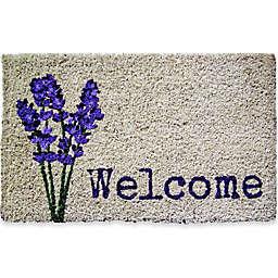 """Entryways Lavender Welcome 18"""" x 30"""" Coir Door Mat in Purple/Green"""