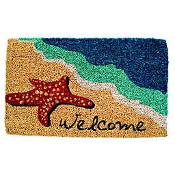 """Entryways Starfish Welcome 18"""" x 30"""" Coir Multicolor Door Mat"""