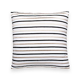 kate spade new york Embroidered Stripe 18-Inch Square Throw Pillow in White/Black