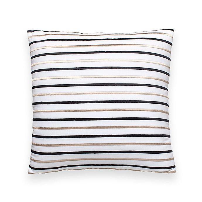 Alternate image 1 for kate spade new york Embroidered Stripe 18-Inch Square Throw Pillow in White/Black