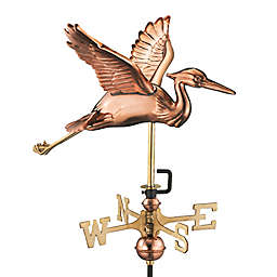 Good Directions Blue Heron Cottage Weathervane with Roof Mount in Polished Copper