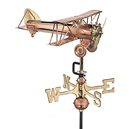 Good Directions Biplane Cottage Weathervane in Polished Copper