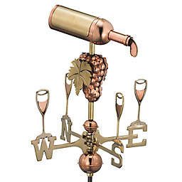 Good Directions Wine Bottle Garden Weathervane with Pole in Polished Copper