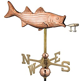 Good Directions Bass with Lure Cottage Weathervane in Polished Copper