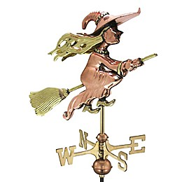 Good Directions© Flying Witch Weathervane in Polished Copper with Roof Mount