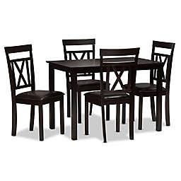 Baxton Studio Rosie 5-Piece Dining Set in Dark Brown
