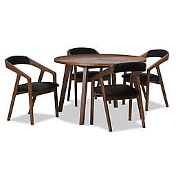 Baxton Studio Wendy 5-Piece Dining Set in Walnut/Dark Grey
