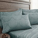 Jacquard Damask 800-Thread-Count Queen Sheet Set in Blue Haze