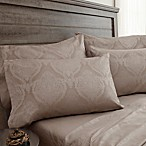Jacquard Damask 800-Thread-Count Queen Sheet Set in Tan