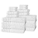 Barnum Turkish Cotton 16-Piece Towel Set in Snow White