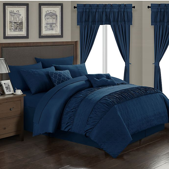 Alternate image 1 for Chic Home Kea 20-Piece King Comforter Set in Navy