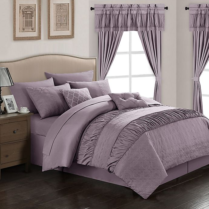Alternate image 1 for Chic Home Kea 20-Piece King Comforter Set in Plum
