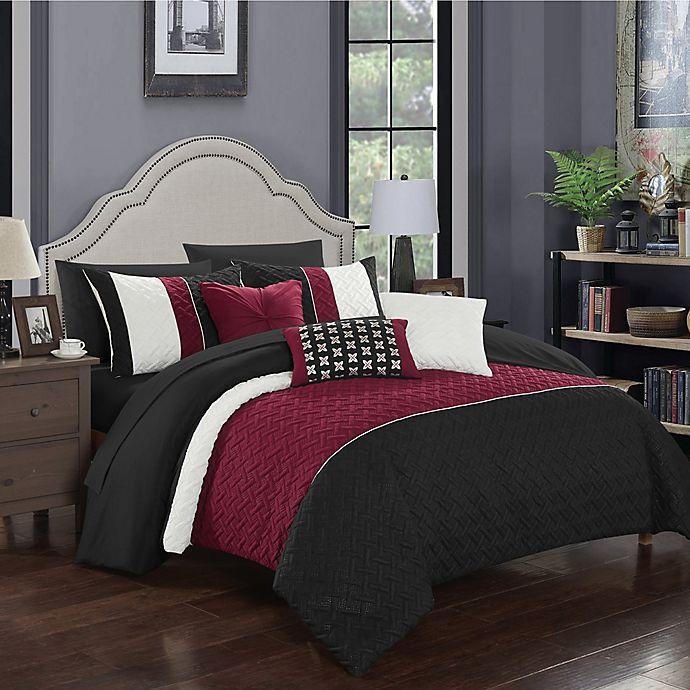 Alternate image 1 for Chic Home Shai 10-Piece King Comforter Set in Black