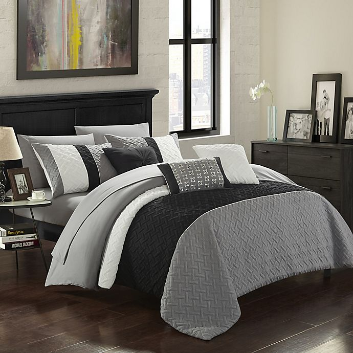 Alternate image 1 for Chic Home Shai 10-Piece Queen Comforter Set in Grey