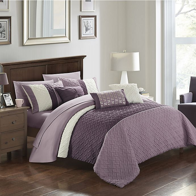 Alternate image 1 for Chic Home Shai 10-Piece Queen Comforter Set in Plum