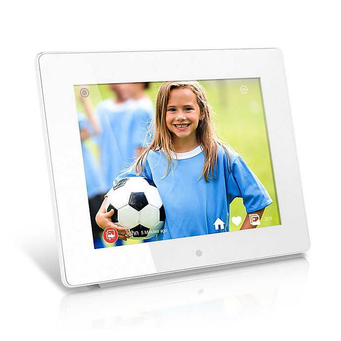 Aluratek 8 Inch Wifi Digital Photo Frame In White With Touchscreen