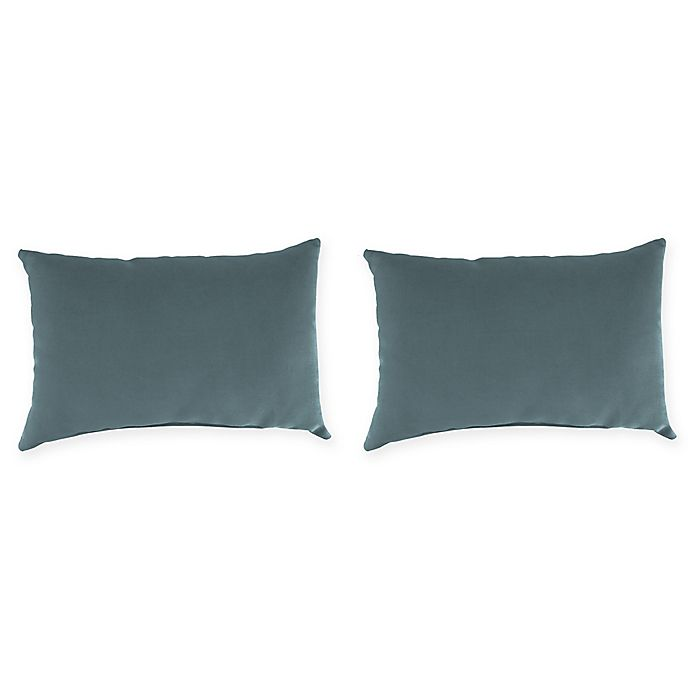 Outdoor Lumbar Throw Pillows In Sunbrella Cast Lagoon Set Of 2