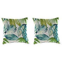 Jordan Manufacturing Senca Caribbean 20-Inch Square Throw Pillows in Green (Set of 2)