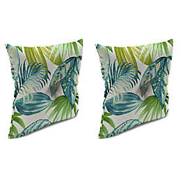 Jordan Manufacturing Senca Caribbean 16-Inch Square Welted Throw Pillows in Green (Set of 2)