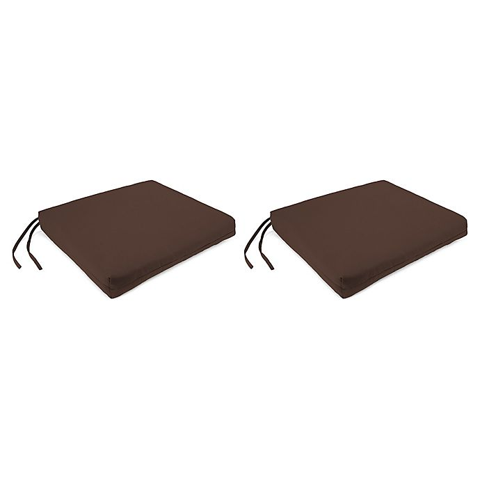 Alternate image 1 for Square Seat Cushions with Ties in Sunbrella Cast Sable (Set of 2)