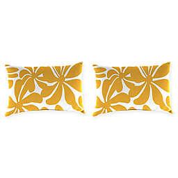 Jordan Manufacturing Twirly Oblong Throw Pillows In Yellow White Set Of 2