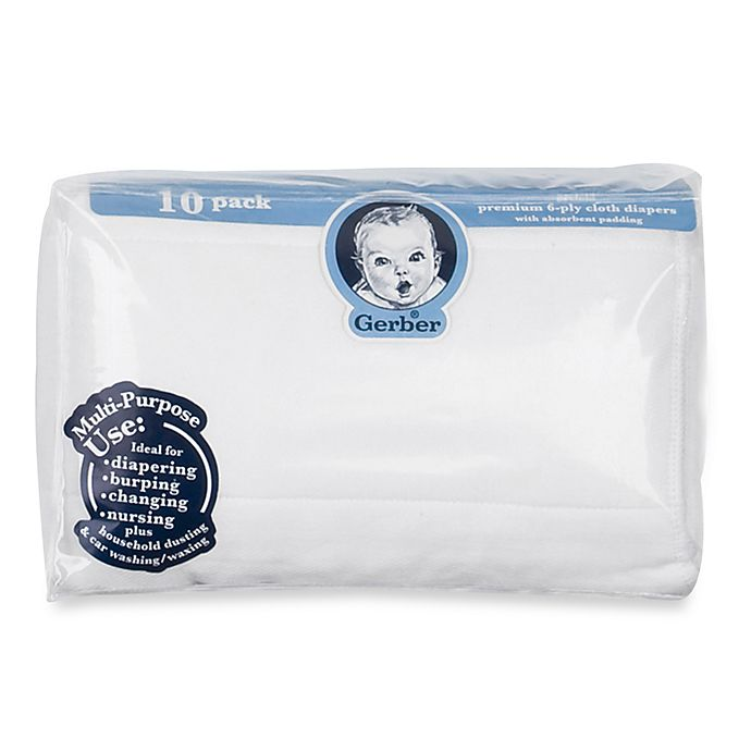 Alternate image 1 for Gerber® 10-Pack Gauze Prefolded Cotton Diapers with Pads