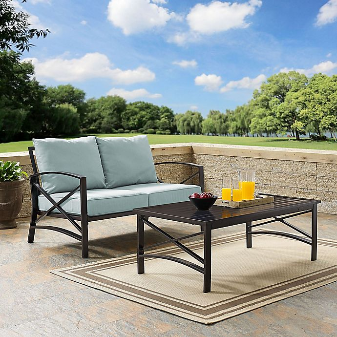 Amazing Crosley Kaplan Patio Loveseat And Coffee Table Set Bed Ocoug Best Dining Table And Chair Ideas Images Ocougorg